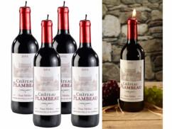 4 bougies décoratives design bouteille de vin - Grand modèle