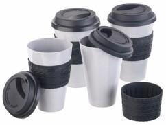 """4 gobelets """"Coffee-to-go"""" en bambou mélaminé avec couvercle"""