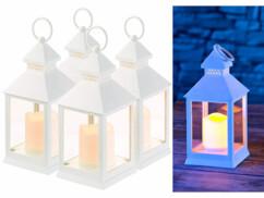 4 lanternes LED à piles effet flamme vacillante - Blanc