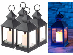4 lanternes LED à piles effet flamme vacillante - Noire