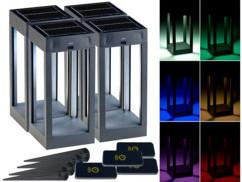 4 lanternes solaires d'extérieur télécommandées à couleur changeante 80 lm