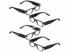 Lot de 4 paires de lunettes à LED pour la dioptrie avec piles fournies.