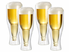 Lot de 4 verres à bierre à double paroi de 20 cl.