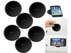 6 supports avec patchs en gel auto-adhérent pour smartphone