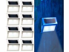 8 appliques solaires LED rectangulaires en acier
