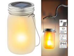 Bocal lumineux à LED solaire avec effet flamme