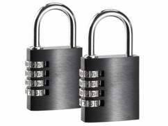 2 cadenas à code 4 chiffres - en aluminium - 38 mm