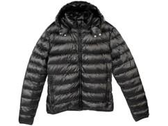 Doudoune ultralégère en duvet avec col montant et capuche - Noir - Taille L