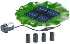 fontaine de bassin solaire forme feuille nenuphar avec 4 buses 4 jets et pompe immergée Royal Gardineer