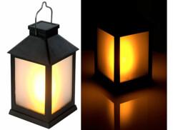 Lanterne LED solaire de jardin avec effet flamme réaliste par Lunartec
