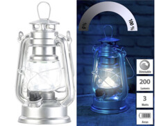 Mini lampe-tempête LED à piles à intensité variable 200lm / 3W / 8000K  - Argent