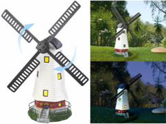 Moulin décoratif solaire à LED - 32 cm