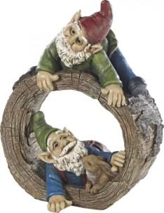 Nain de jardin ''Duo de nains avec lapin et souche d'arbre''