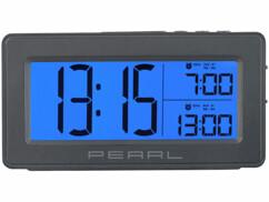 Réveil numérique avec écran bleu XL.