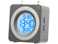 Réveil radio-piloté à sonnette design carré rétro.
