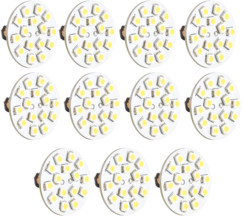 10 ampoules 15 LED SMD G4 blanc chaud