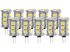 10 ampoules 18 LED SMD G4 blanc neutre