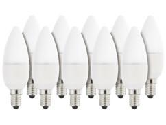 10 ampoules bougie à LED SMD - E14 - 6W - blanc chaud