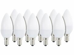 10 ampoules bougies LED E14 - 3 W - 250 lm - Blanc chaud