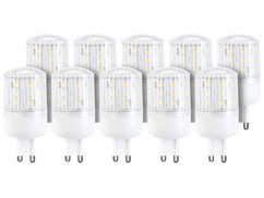 10 ampoules compactes LED 3 W avec éclairage 360° - GU9 - Blanc