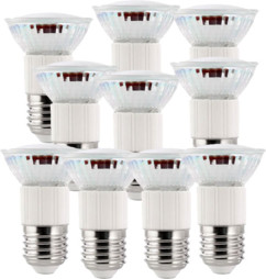 10 ampoules LED dimmables, culot E27, blanc chaud