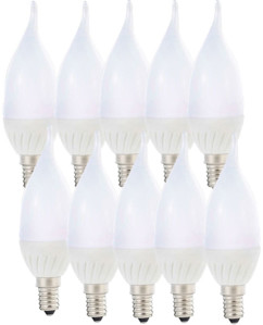 10 ampoules LED ''Flamme'' E14 - 3W - Blanc chaud