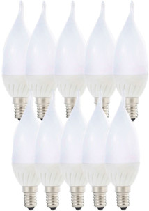 10 ampoules LED ''Flamme'' E14 - 3W - Blanc