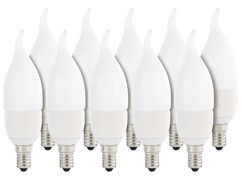10 ampoules LED ''Flamme'' E14 - 6 W - Blanc