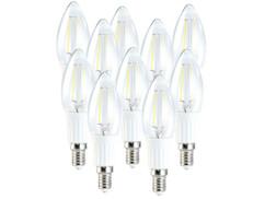 10 ampoules LED SMD Blanc Chaud, style bougie à filament