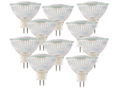 10 ampoules 39 LED SMD GU5.3 -  blanc chaud