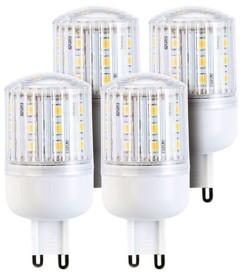 Lot de 4 ampoules compactes LED 3 W avec éclairage 360° - GU9 - Blanc chaud