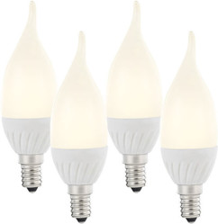 Lot de 4 ampoules LED ''Flamme'' E14 - 3W - Blanc chaud