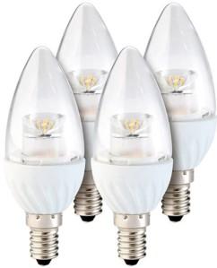 Lot de 4 ampoules LED ovales 4 W - E14 - Blanc