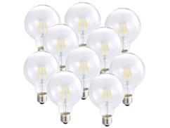 10 ampoules Globe LED à filament A++, E27, 6 W, 600 lm, 360°, Blanc Chaud