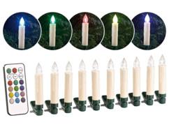 10 bougies de Noël à LED RVB avec télécommande infrarouge