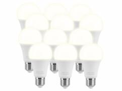 Lot de 12 ampoules E27 de 15 W avec une luminosité de 1400 lumens.