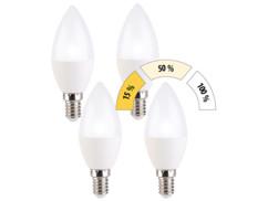 Ampoule bougie à LED E14 / 5 W / 470 lm à 3 niveaux d'intensité - Blanc Jour - x4