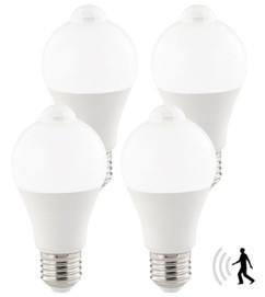 4 ampoules LED 12 W / E27 / 1055 lm avec détecteur de mouvement - Blanc