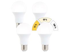 Pack 4 ampoules LED E27 / 14 W / 1400 lm à 3 niveaux de luminosité - blanc chaud