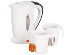 Bouilloire de voyage & 2 tasses, 110/230 V, 650 W, 500 ml
