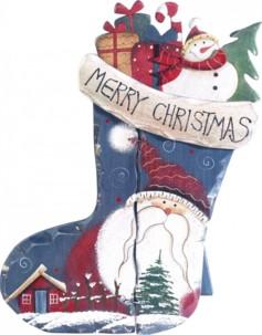 Chaussette décorative en bois - motif Père Noël