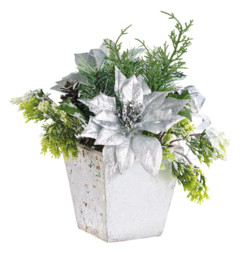 Composition florale de Noël avec fleurs et branches artificielles