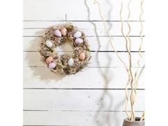 Couronne de Pâques décorative avec oeufs couleurs pastel, Ø 34cm