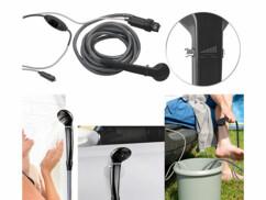 douche de camping pour riviere et seau avec pompe electrique raccordée prise allume cigare 12v semptec