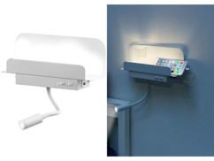 Étagère murale avec lampe de lecture et port de chargement USB - Blanc