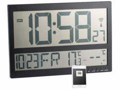 Horloge murale radio-pilotée avec thermomètre int./ext. XXL