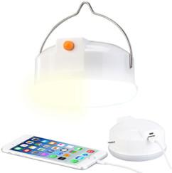 lampe de camping avec crochet chargement usb mode batterie de secours lumiere blanche ou jaune
