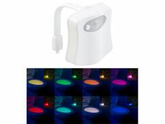 Lampe LED pour toilettes avec veilleuse et détecteur de mouvement.