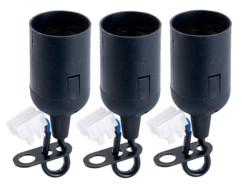 Lot de 3 douilles E14 pour suspension, avec domino 2 pôles - Noir