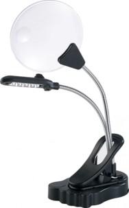 Loupe de bureau à LED avec pince de fixation